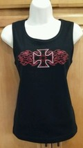NWT Sexy! Glitzy Bling Sparkle! Black/Red Maltese Cross Motorcycle Tank ... - $19.98