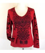 ONE WORLD Size M Studded Flocked Heather Knit T... - $17.98