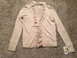 NWT Women's Charter Club Gold Cotton Blend Faux Sweater Set, Size M - $34.99