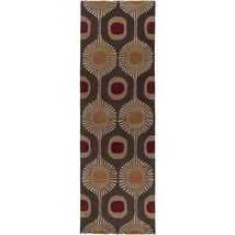 3x12 Runner Contemporary Modern Geometric Hand Tufted Plush Wool Brown A... - $299.00