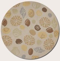 8' Round Tropical Coastal Beach Sea Shells Beig... - $449.00