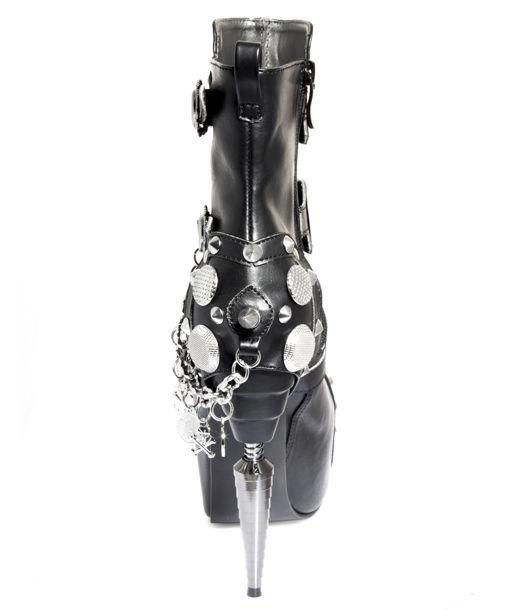 Black Athena Hades Stiletto Gothic Industrial Heel Platform Punk Buckle Booties