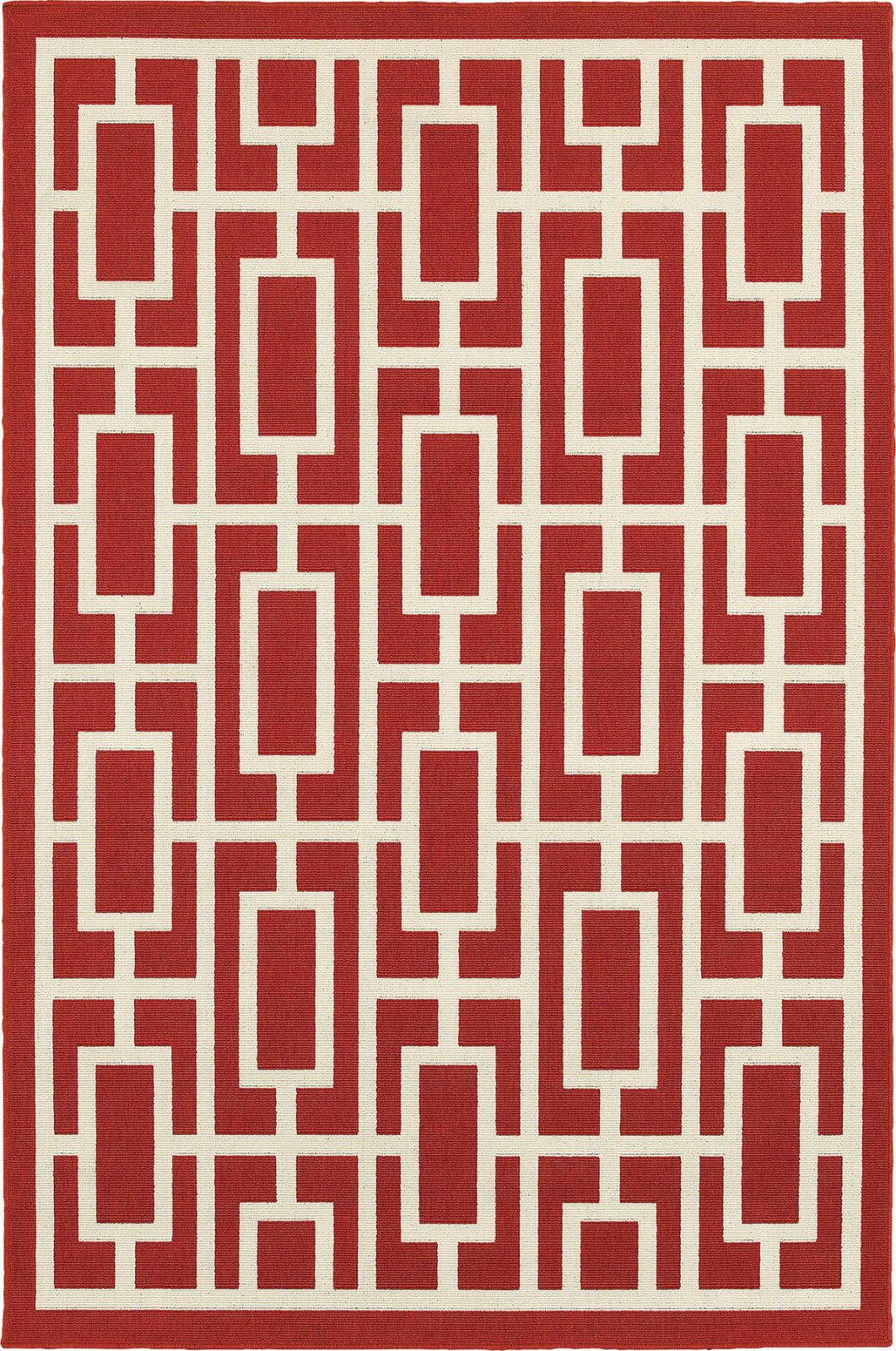"4x6 (3'7"" x 5'6"" ) Contemporary Geometric Red Indoor Outdoor Area Rug"