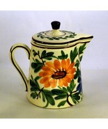 Schramberg Majolica Germany Handpainted Coffee Pot Red Yellow Floral Pot... - $45.00
