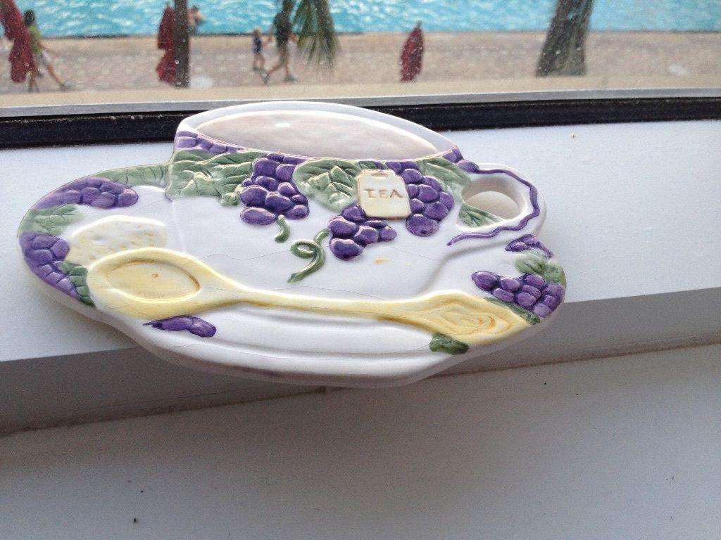 teacup & saucer ceramic wall hanging