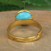 Turquoise Gemstone Adjustable Ring 925 Silver Gold Plated Engagement Rings - $22.00
