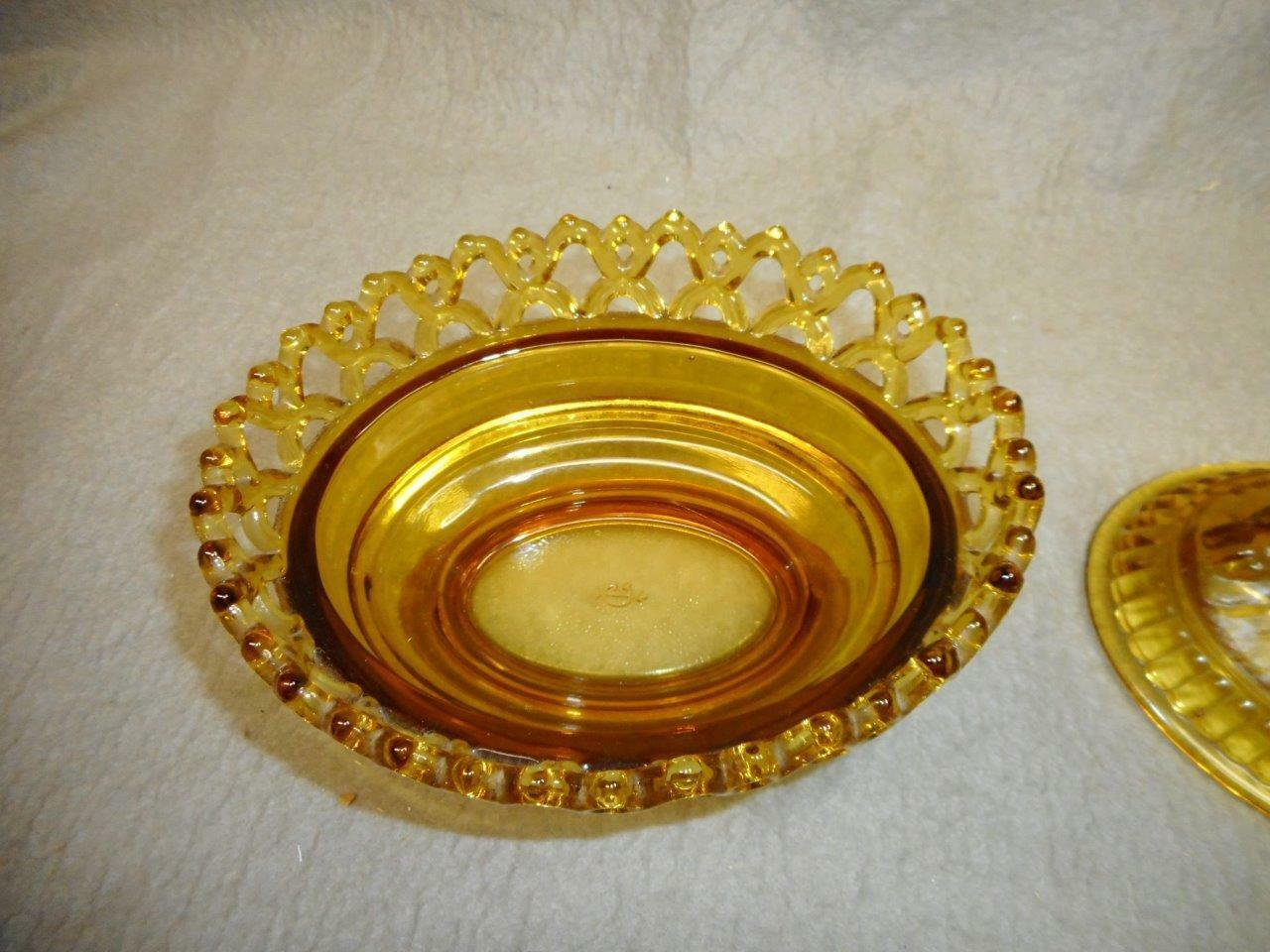 VINTAGE AMBER GLASS LION COVER CANDY DISH IMPERIAL GLASS PAT 1889 N/R