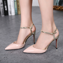 pp120 candy color pointed pumps, gold sole,size 34-39, nude/gold - $68.80