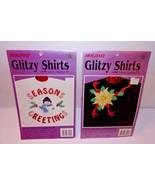Glitzy Lame Christmas 2 Appliques Iron-on SEASONS GREETINGS + GOLDEN POI... - $17.77