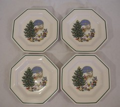 Nikko Christmastime Accent Plates Here Comes Santa Set of 4 With Box - $34.64