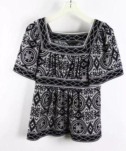 BCBG Max azria Black White Printed Short Sleeve Square Neck Top XS