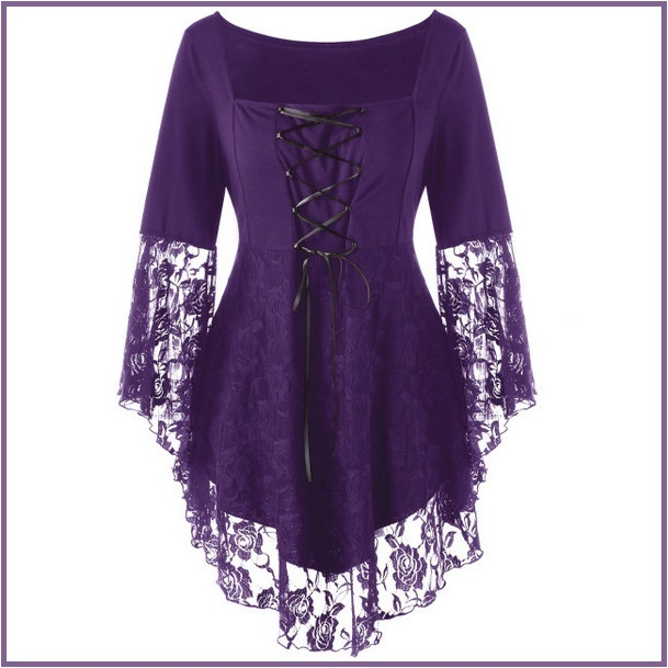 Purple Plus Size Gothic Lace Up Front Flare Sleeves Irregular Extended Lace Hem