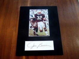 JIM BROWN CLEVELAND BROWNS HOF SIGNED AUTO CUSTOM MATTED PHOTO & CUT JSA   - $118.79