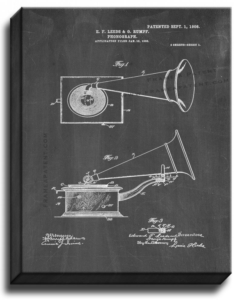 Primary image for Phonograph Patent Print Chalkboard on Canvas