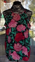 New Sleeveless Ruffle At The Arms Floral Elle Cami Shirt Sz. M - $29.69