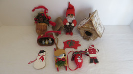 9 Christmas Wooden Santa, Snowman,  Ornaments - $10.39