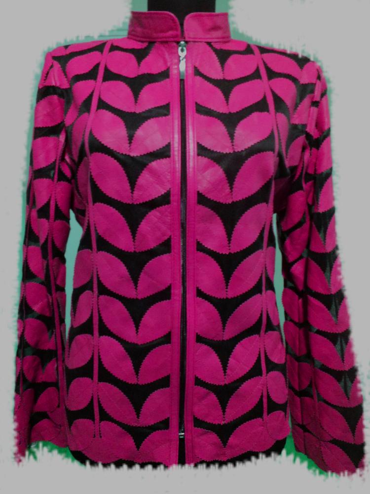 Yellow Leather Leaf Jacket Women All Colours Sizes Genuine Lambskin Zip Short D1