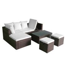 Patio Sofa Set Garden Corner Rattan Outdoor Bed Couch Wicker Furniture C... - $862.41