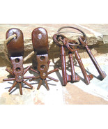 Cast Iron Rusty Mexican Vaquero Pancho Villa style Spurs and JAIL keys bz - $74.99