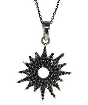 Spark looking necklace 925 sterling silver solid black spinel gemstone SHNL0074 - $13.61