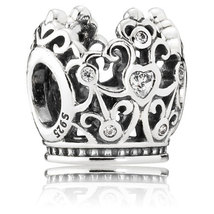 925 Sterling Silver Disney Princess Crown with Heart Cz Charm Bead QJCB525 - $20.98