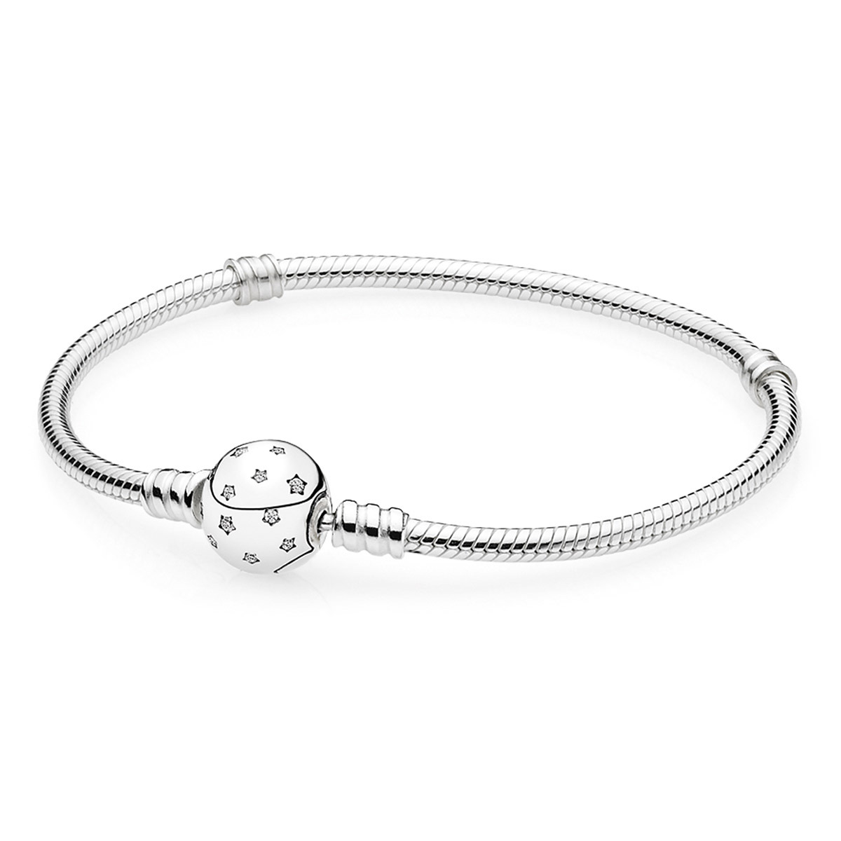 925 Sterling Silver Starry Sky Clasp with Clear CZ Bracelet QJBRC035