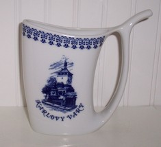 Karlovy Vary Porcelain CZECHOSLOVAKIA SPA PITCHER SIPPING CUP /Blue & White - $19.79