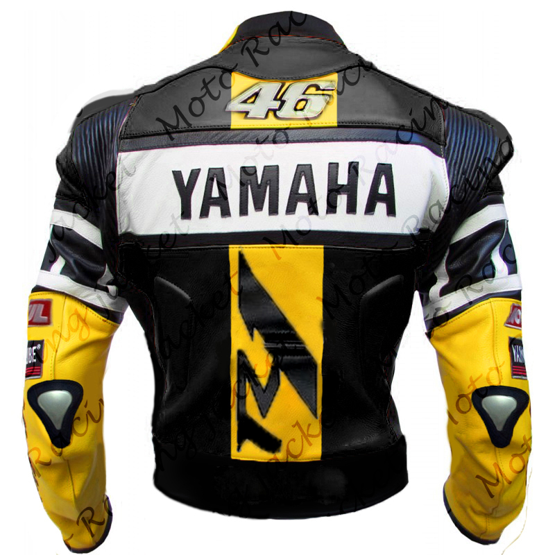 Yamaha yzf r1 yzf r6 yellow motorbike 46 rossi leather for Yamaha r1 motorcycle jackets