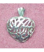 Silver Filigree Heart Pendant w Mom for Mother - $7.00