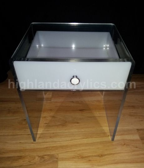 acrylic lucite end table nightstand with drawer custom