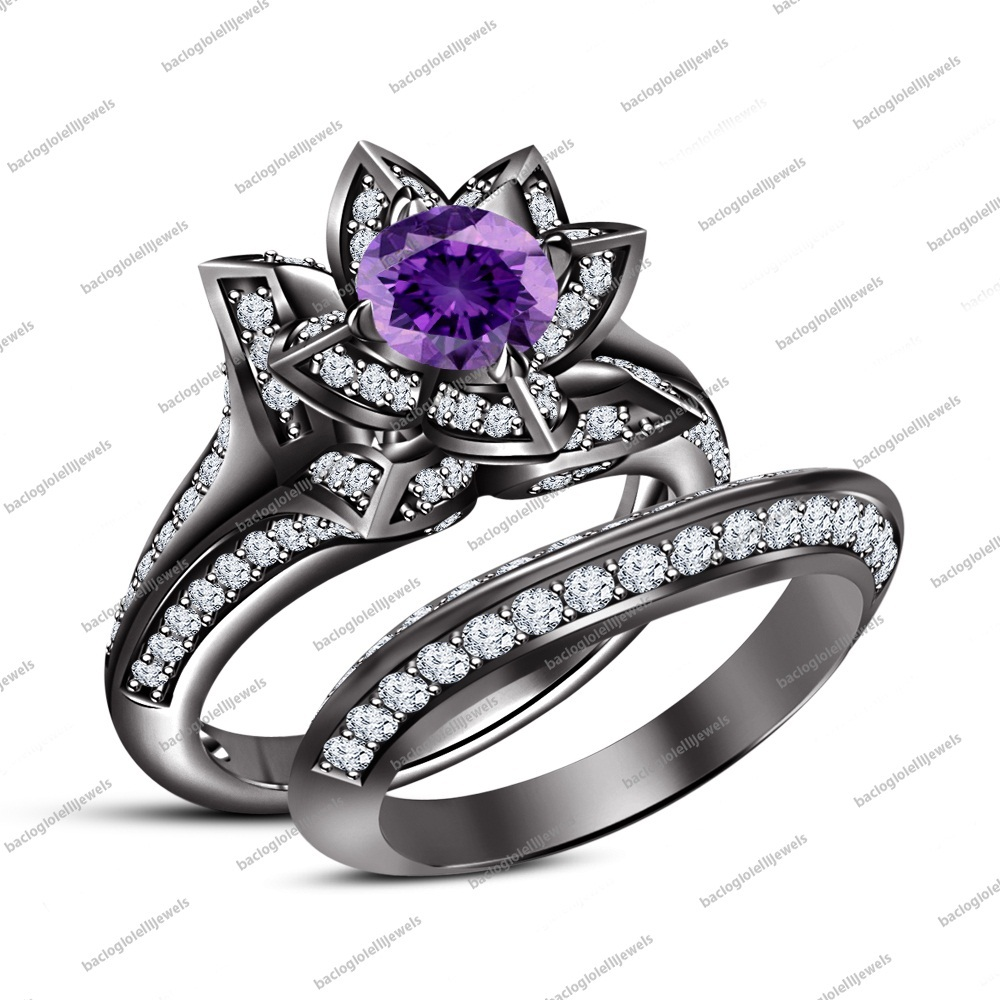 Round Cut Amethyst 14K Black Rhodium Fn.925 Silver Lotus Shape Engagement Ring