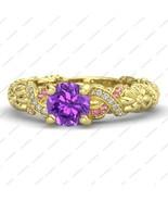 14K Gold Over 925 Sterling Silver Round Cut CZ Princess Rapunzel Engagem... - $52.99