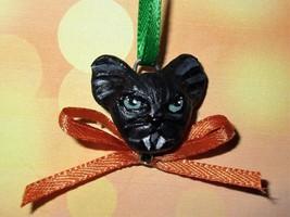 BLACK BAT CHARM Ooak Halloween Mini Tree Ornament pet holiday orange bow  - €5,05 EUR