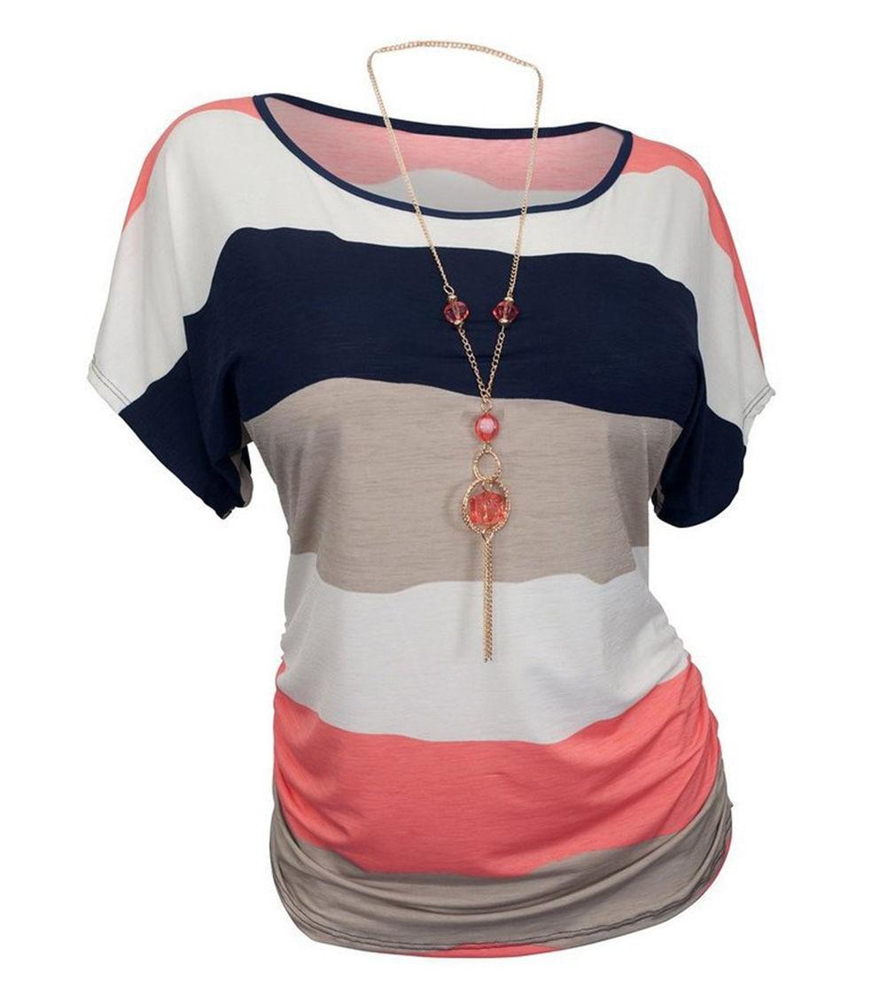 Trust Vendor Women's Crewneck Stripes Dolman Top Tee Plus Sizes T-shirts