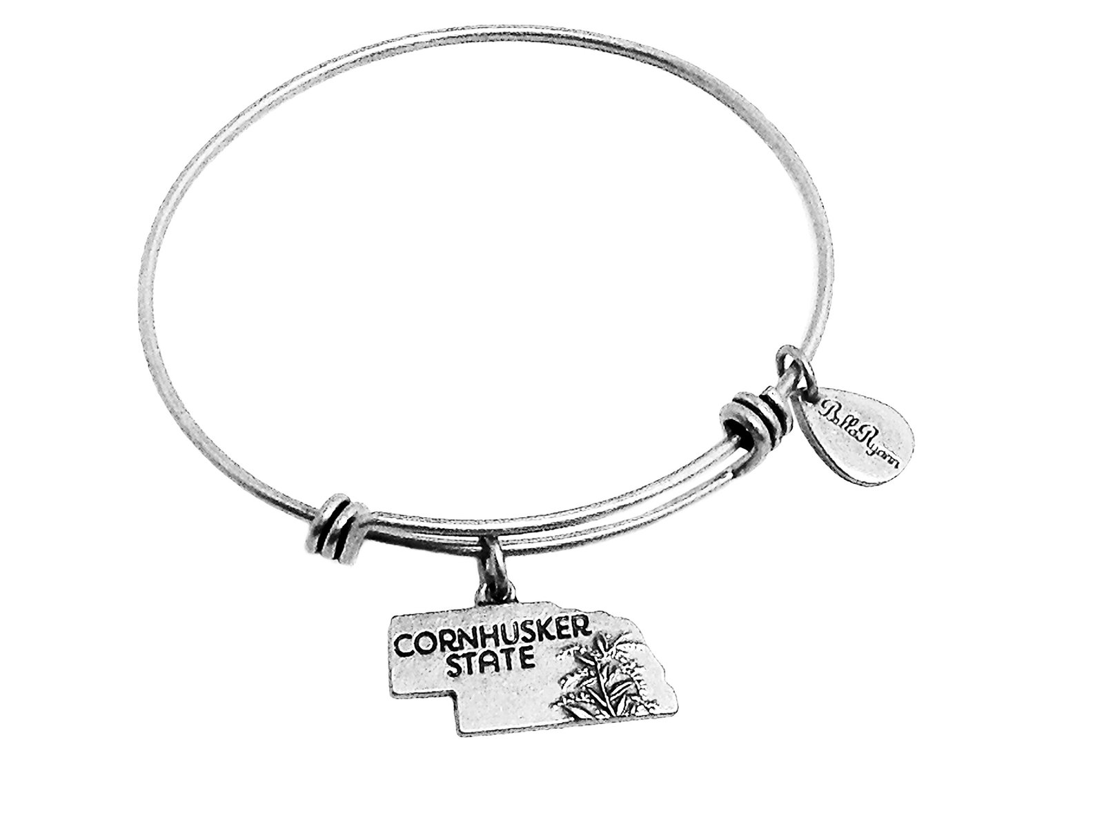 State of Nebraska Charm Bangle Bracelet