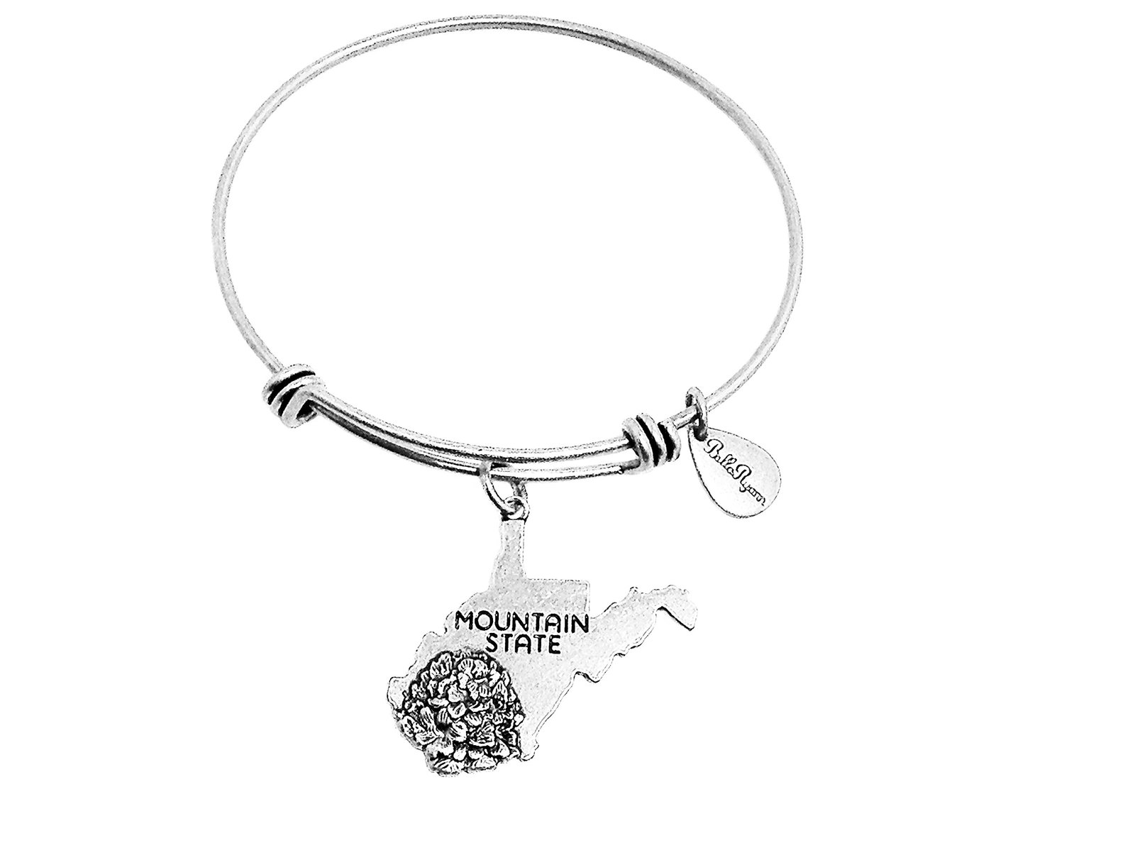 State of West Virginia Charm Bangle Bracelet