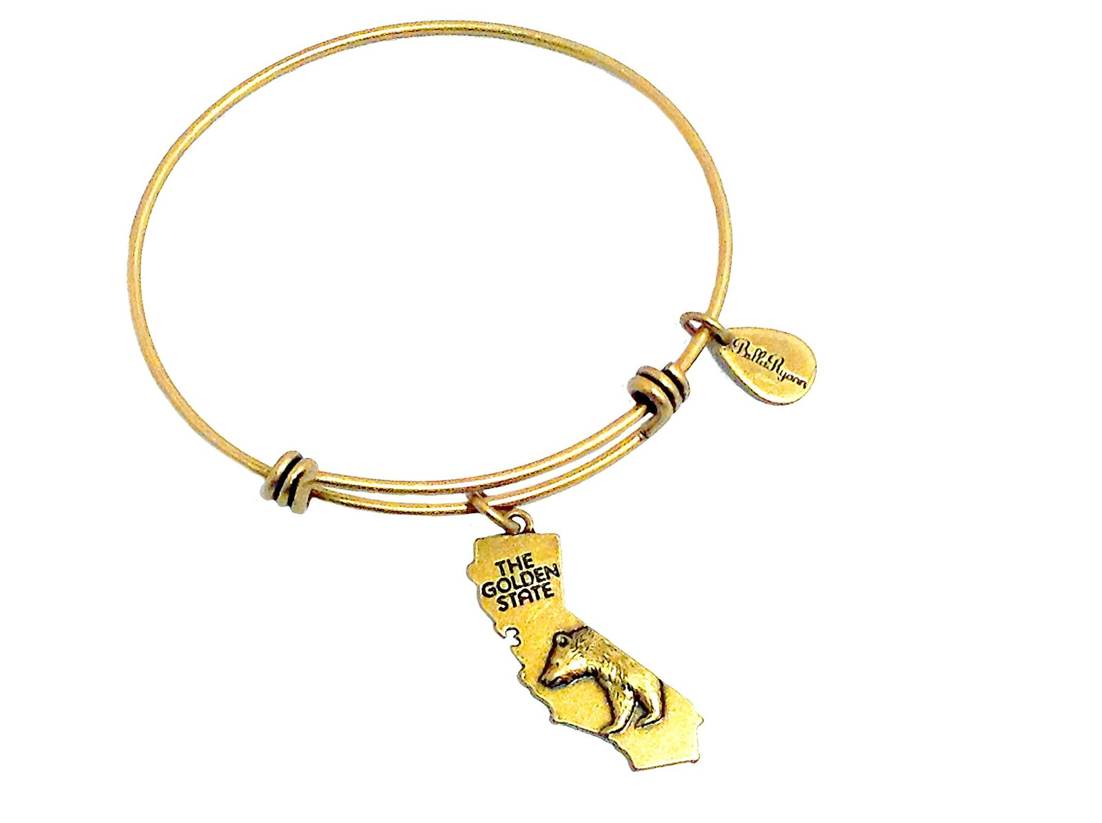 State of California Charm Bangle Bracelet (gold-plated-base)