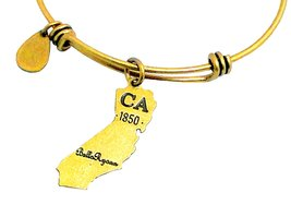 State of California Charm Bangle Bracelet (gold-plated-base) image 4