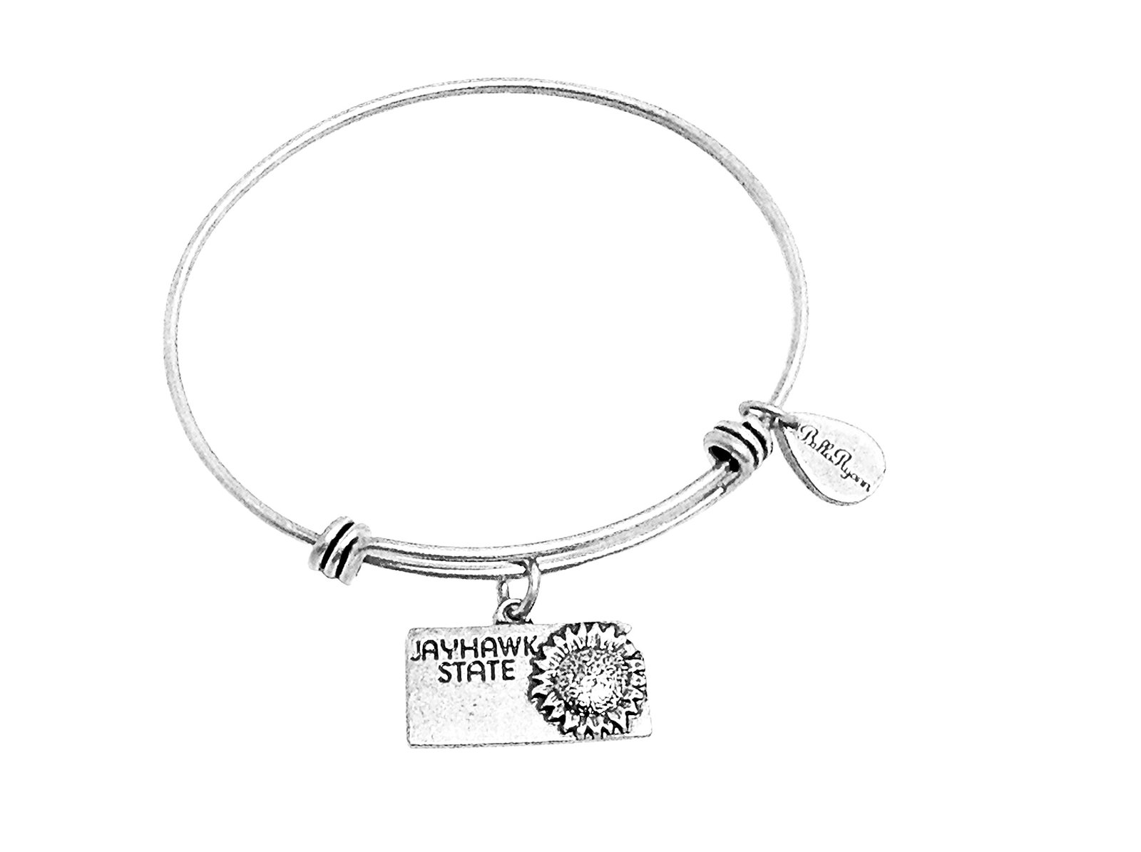 State of Kansas Charm Bangle Bracelet