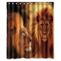 Lions #08 Shower Curtain Waterproof Made From Polyester - $31.26+