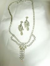 """Clear rhinestone 14"""" neck 1.5"""" waterfall drop necklace screw back earrin... - $39.59"""