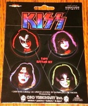 KISS SET OF 4 BUTTONS ON CARD     AWESOME! GENE, PAUL, PETER, ACE  NEW! ... - $75.23