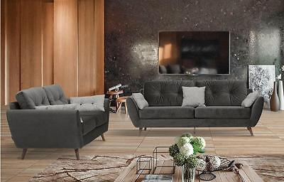 707 Modern Contemporary Chic Fabric Sofa and Loveseat Set  by ESF 2pcs