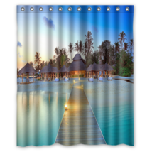 Maldives Resort #01 Shower Curtain Waterproof Made From Polyester - $31.26+