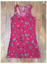 Ladies Wallflower Red Floral Tank Top Smalll S Longer Fit - $5.04