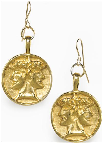 Janus gold earrings