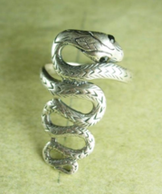 Sterling snake ring with a silver serpent that crawls down your finger black  - $145.00