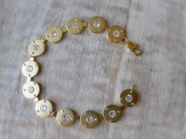 """7.5"""" Matte Gold Tone Round Cubic Zirconia Bracelet From Hope Chest Jewelry - $13.94"""