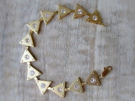 """7.5"""" Matte Gold Tone Triangle Cubic Zirconia Bracelet From Hope Chest Jewelry - $13.94"""