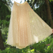 GOLD Sequin Tulle Midi Skirt Women Gold Sparkly Skirt Plus Size Party Skirt image 15